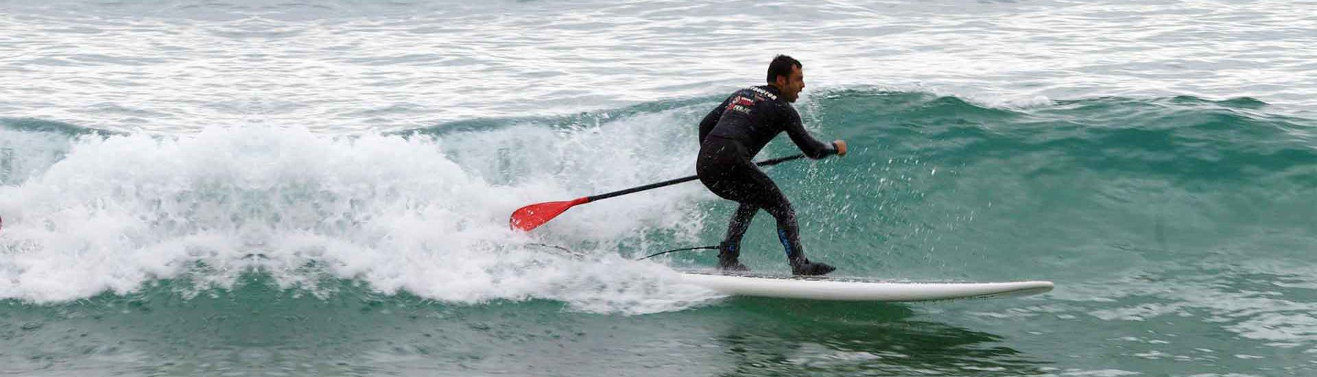 Stand-up paddleboard in waves